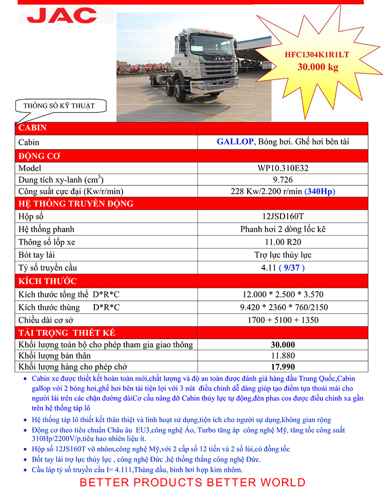 xe tải jac 4 chân gallop 18 tấn XE TẢI JAC 4 CHÂN GALLOP 310Hp HFC1304K1R1LT MỚI TP.HCM